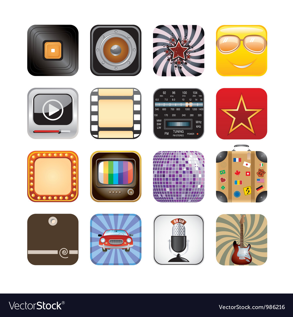 Retro app icons vector | Price: 3 Credit (USD $3)