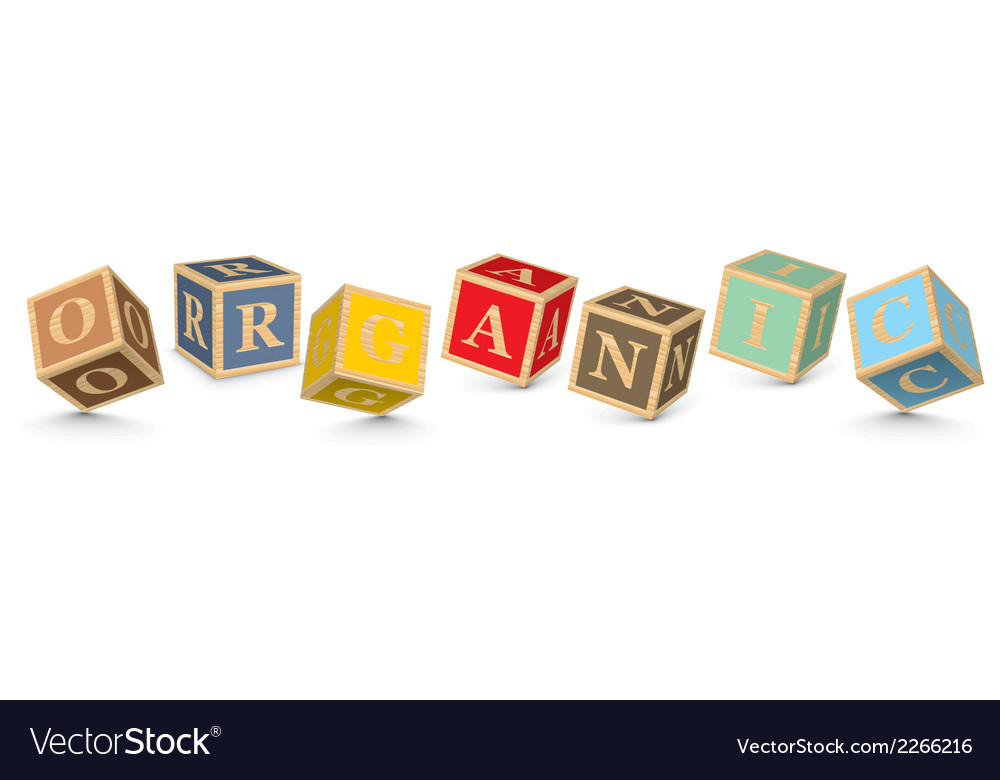 Word organic written with alphabet blocks vector | Price: 1 Credit (USD $1)