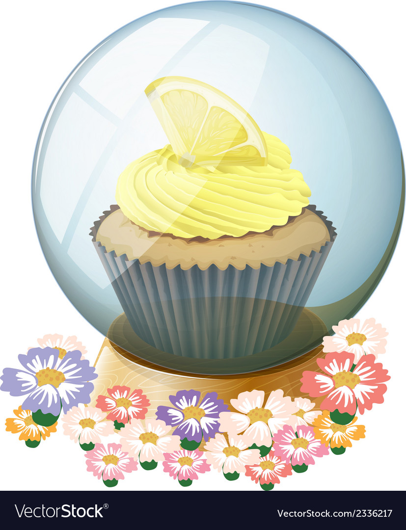 A crystal ball surrounded with flowers vector | Price: 1 Credit (USD $1)