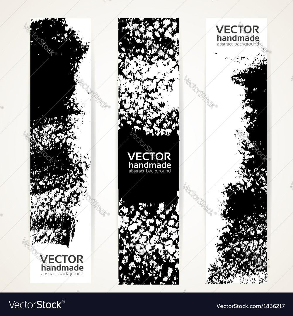 Black ink strokes banner set vector | Price: 1 Credit (USD $1)