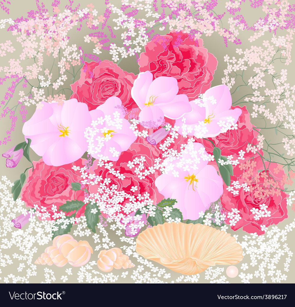 Bouquet of roses and orchids with mussels vector | Price: 1 Credit (USD $1)