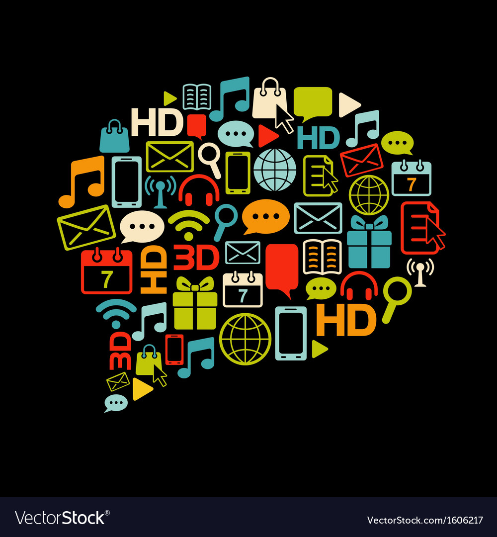Communication bubble made from icons vector | Price: 1 Credit (USD $1)