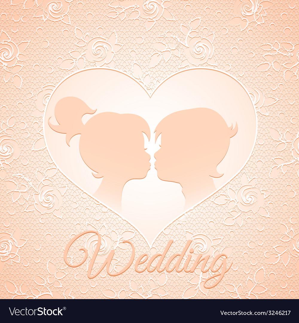 Delicate cream wedding card vector | Price: 1 Credit (USD $1)