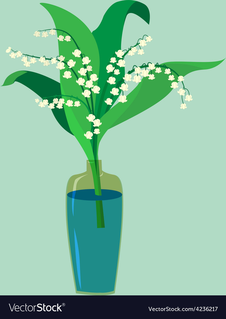 Flat design a valley lily in a vase vector   Price: 1 Credit (USD $1)