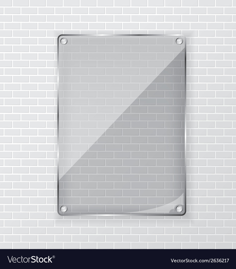 Glass frame on brick wall vector | Price: 1 Credit (USD $1)