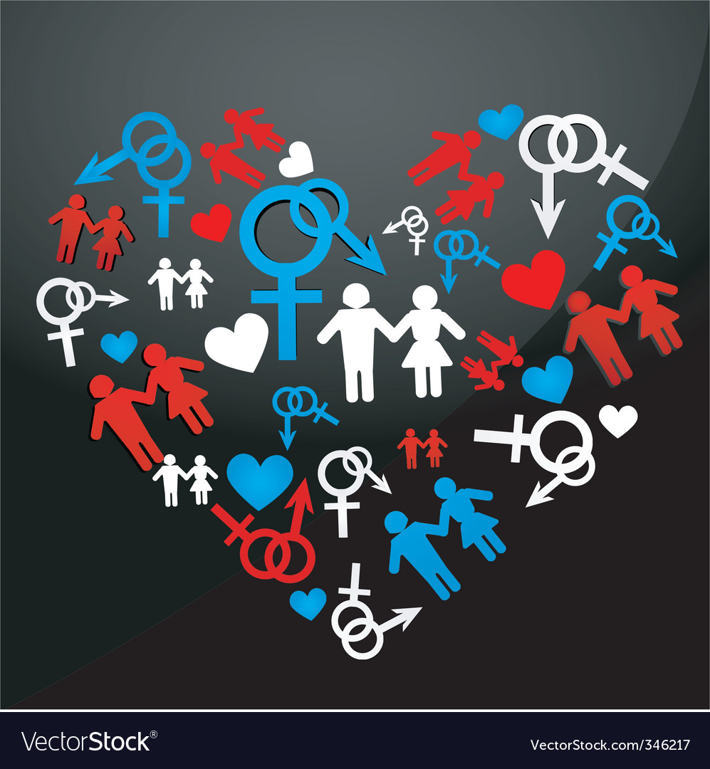 Male female icons forming heart vector | Price: 1 Credit (USD $1)