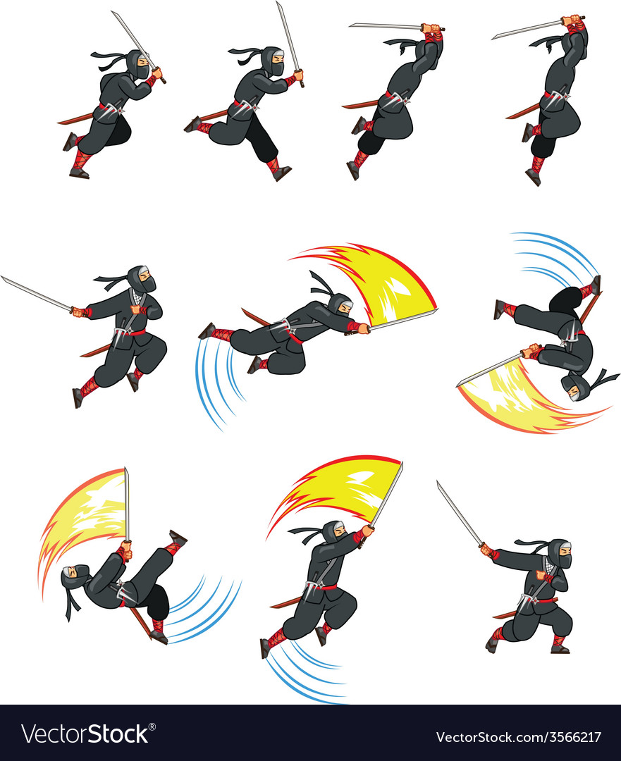 Ninja flying attack game sprite vector | Price: 1 Credit (USD $1)