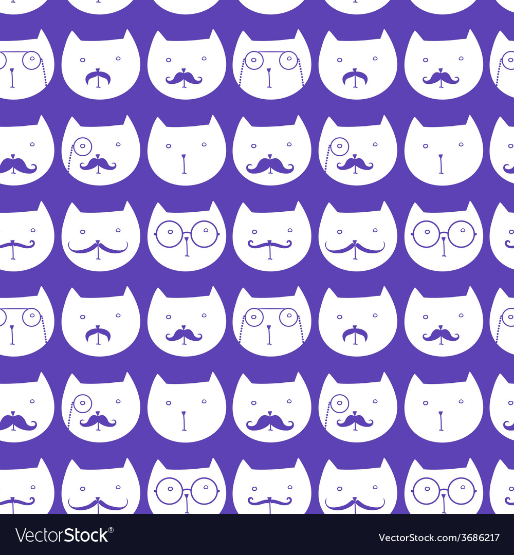 Seamless pattern with cute cats vector | Price: 1 Credit (USD $1)