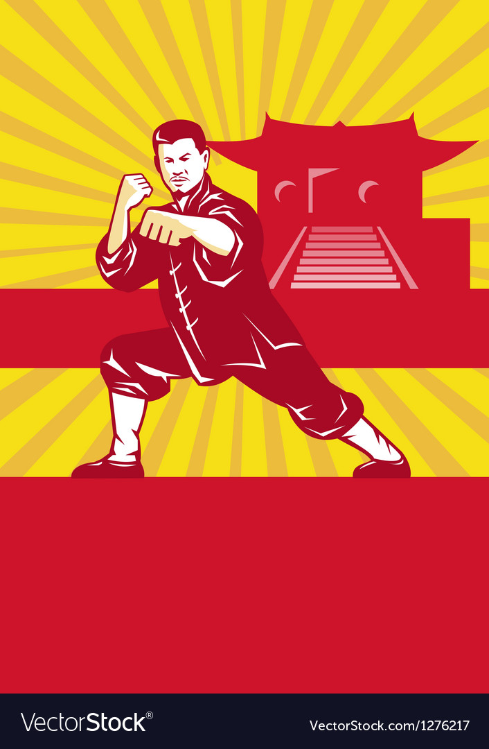 Shaolin kung fu martial arts master retro vector | Price: 1 Credit (USD $1)