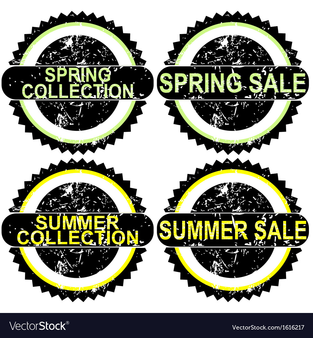 Spring rubber stamps vector | Price: 1 Credit (USD $1)