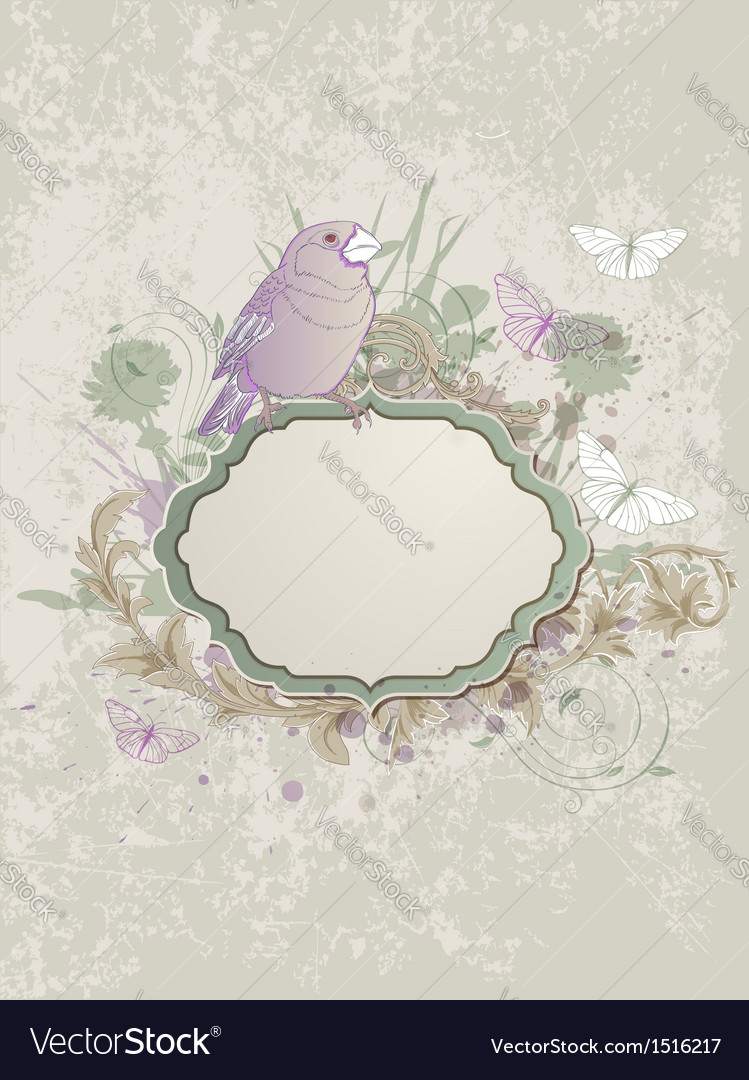 Vintage bird and label vector | Price: 1 Credit (USD $1)