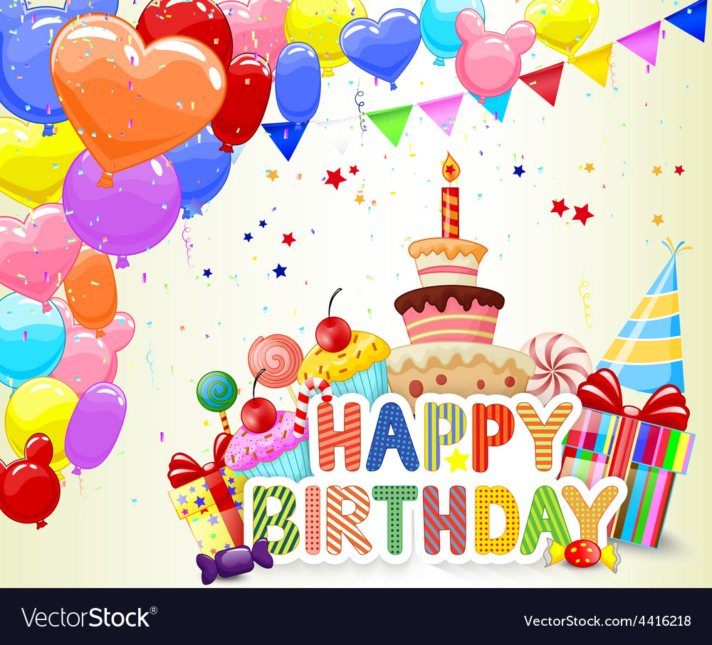 Birthday background with colorful balloon and birt vector | Price: 1 Credit (USD $1)
