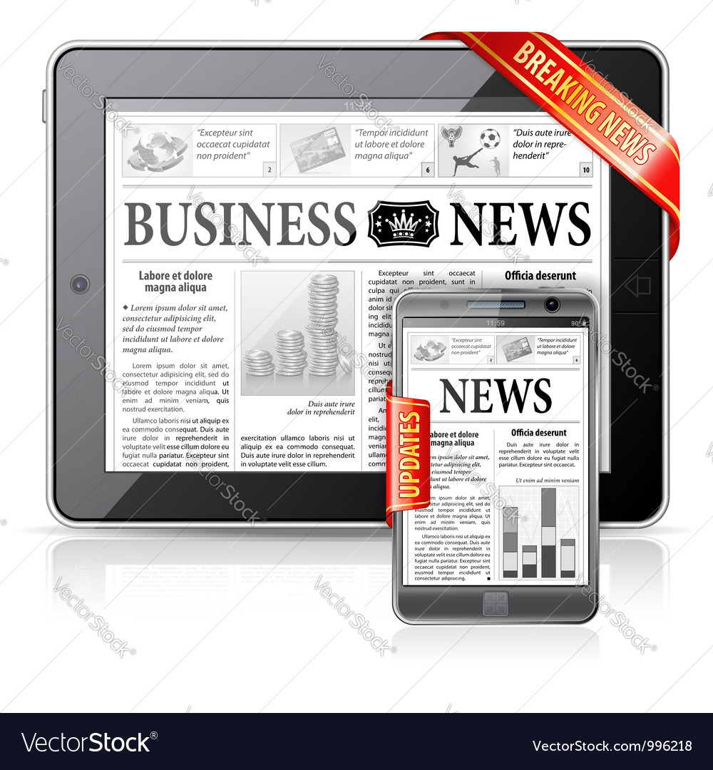 Breaking news concept - tablet pc smartphone vector | Price: 3 Credit (USD $3)