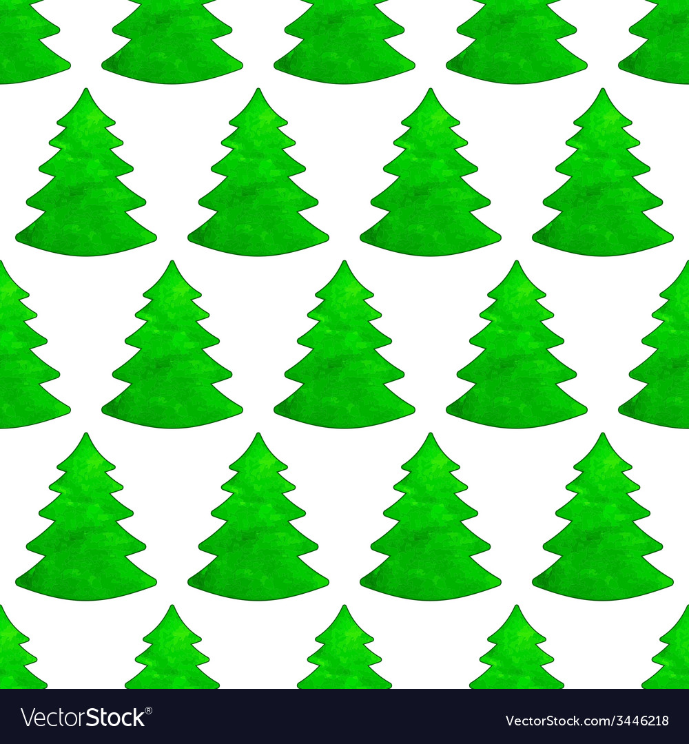 Christmas watercolor tree pattern vector | Price: 1 Credit (USD $1)