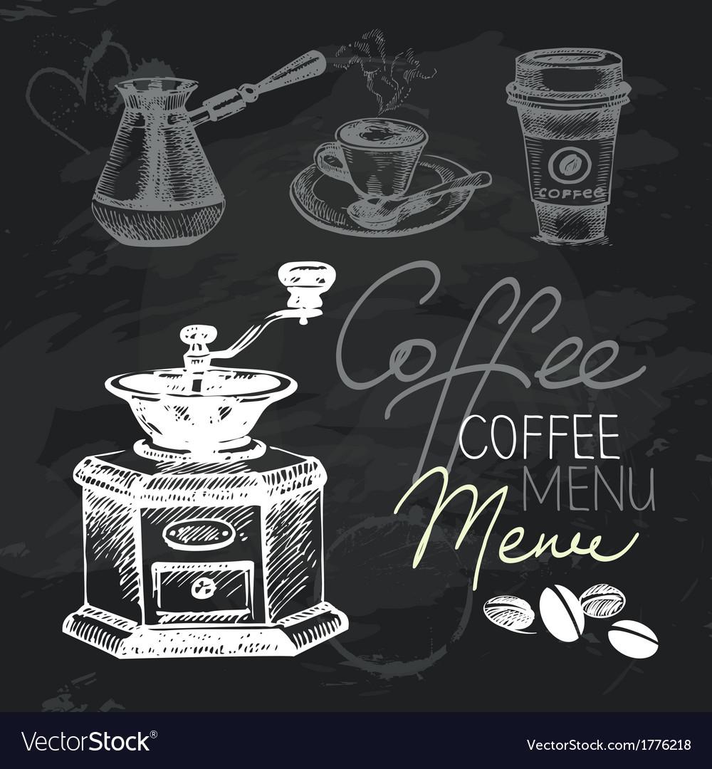 Coffee hand drawn chalkboard design set vector | Price: 1 Credit (USD $1)