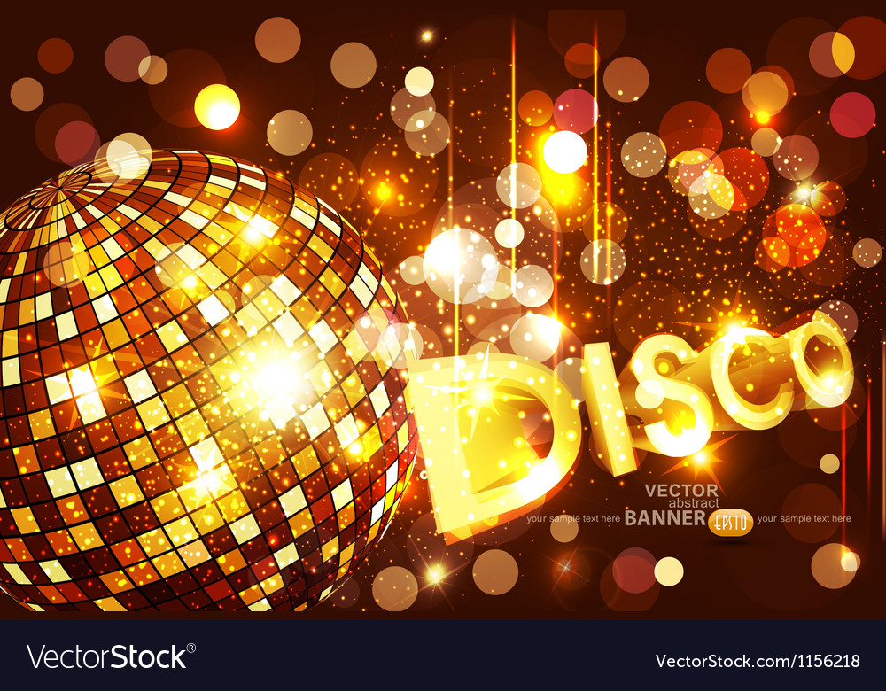 Disco background with golden disco ball vector | Price: 1 Credit (USD $1)