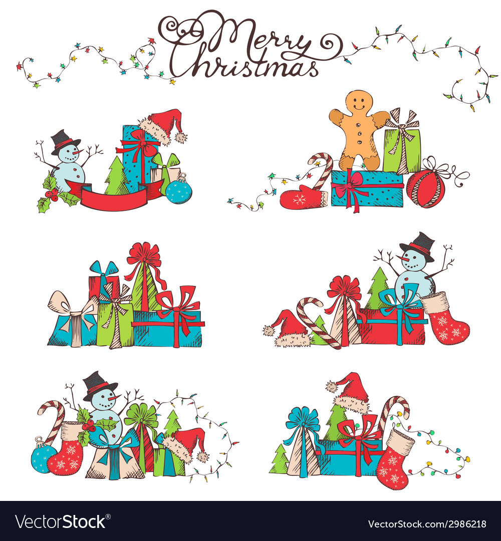 Hand-drawn christmas design elements vector | Price: 1 Credit (USD $1)