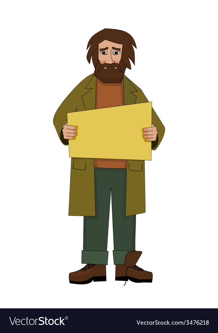 Homeless man with cardboard vector | Price: 1 Credit (USD $1)