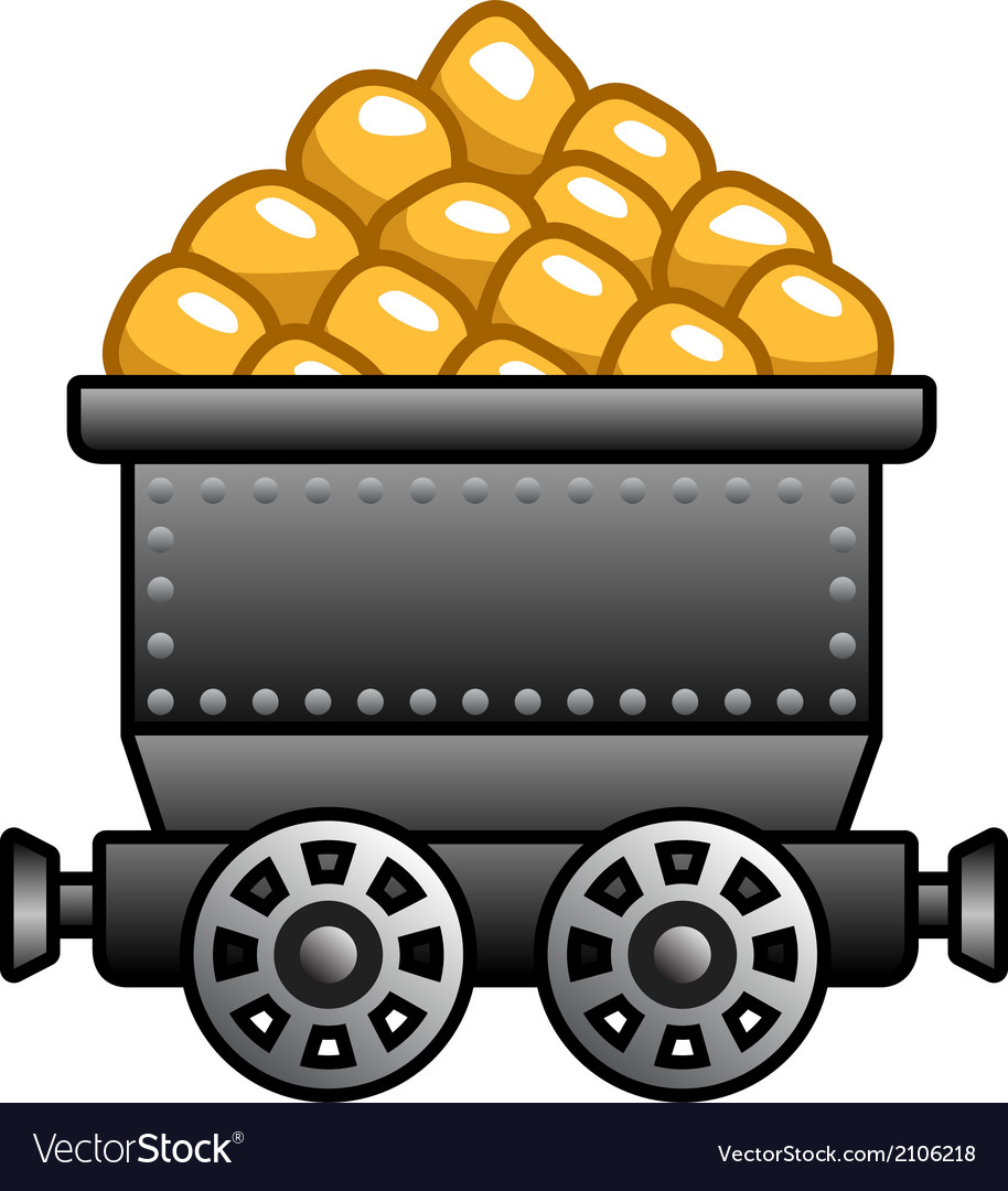 Iron mine cart with gold vector | Price: 1 Credit (USD $1)