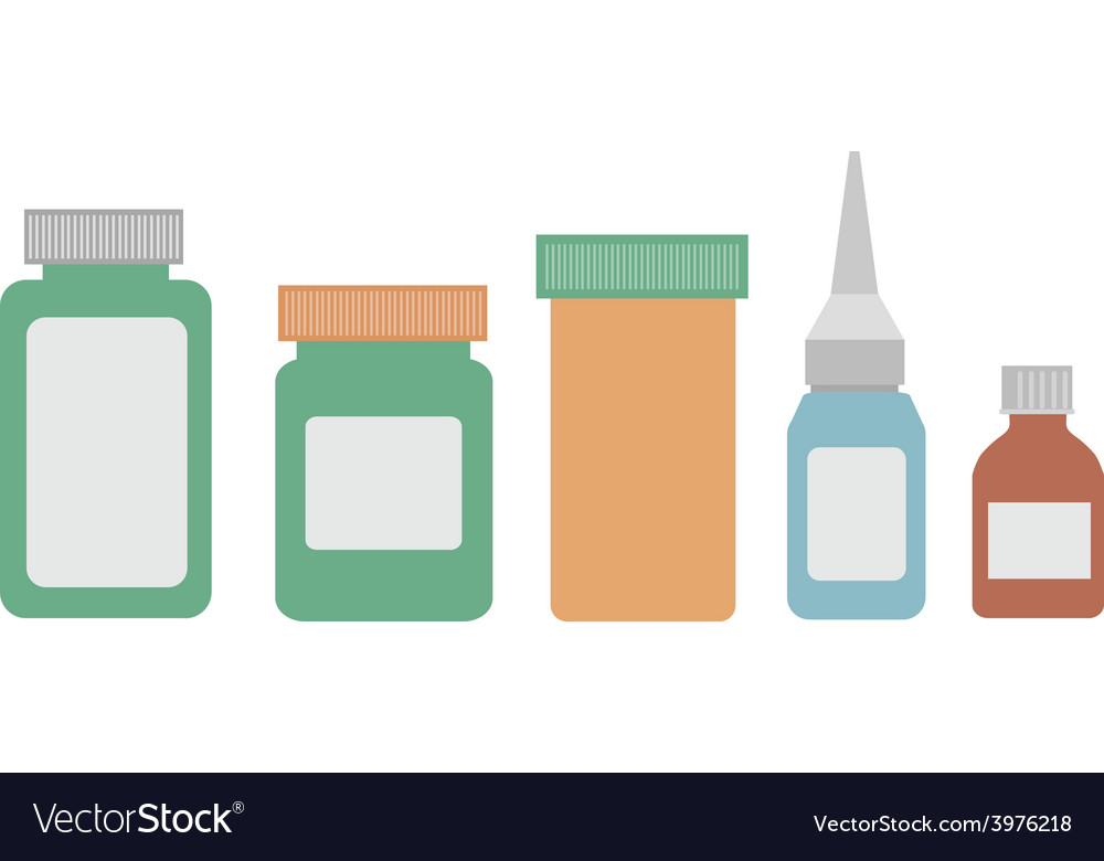 Medicine bottles on white background vector | Price: 1 Credit (USD $1)