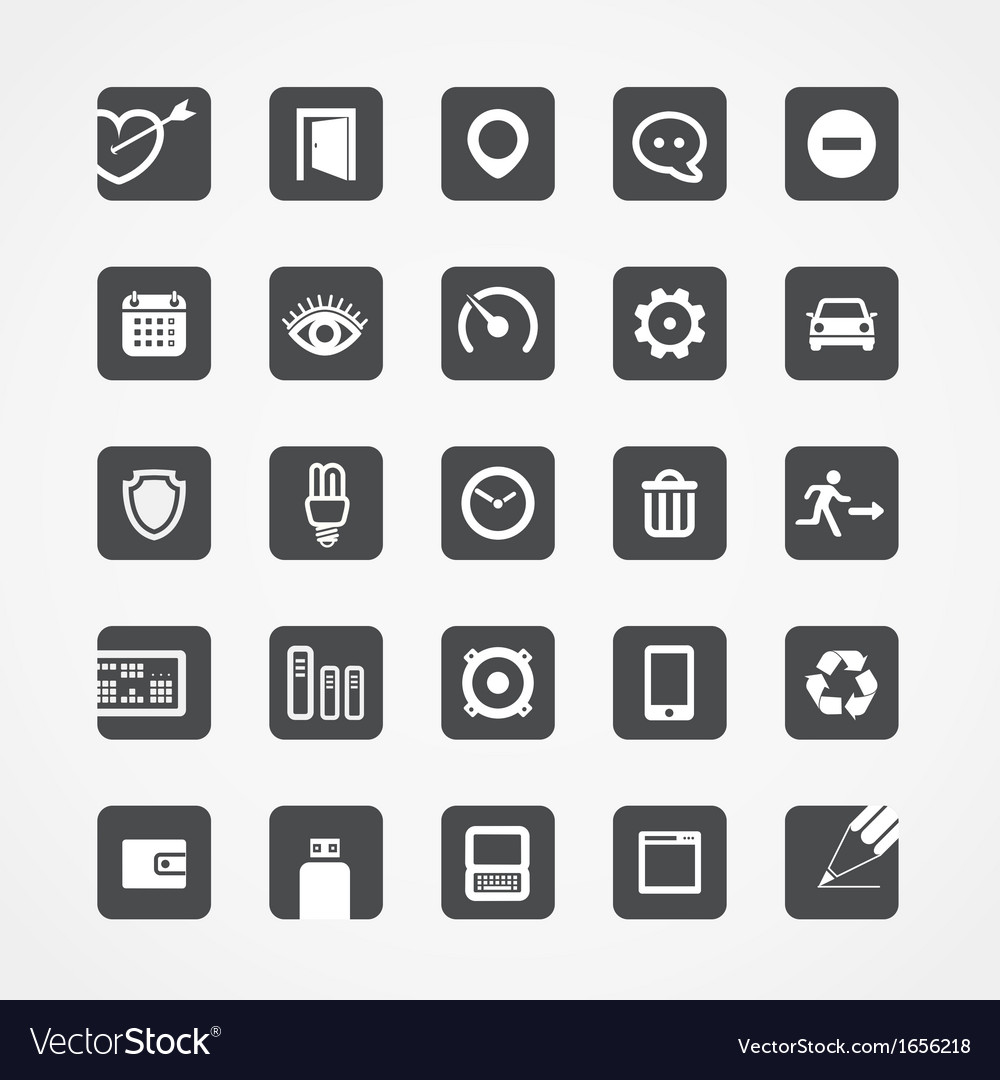 Modern square web icons collection vector | Price: 1 Credit (USD $1)
