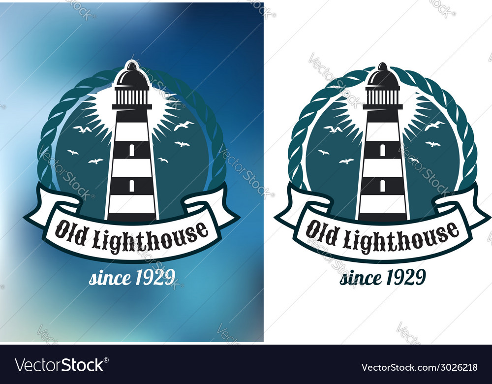 Nautical theme emblem with lighthouse vector | Price: 1 Credit (USD $1)