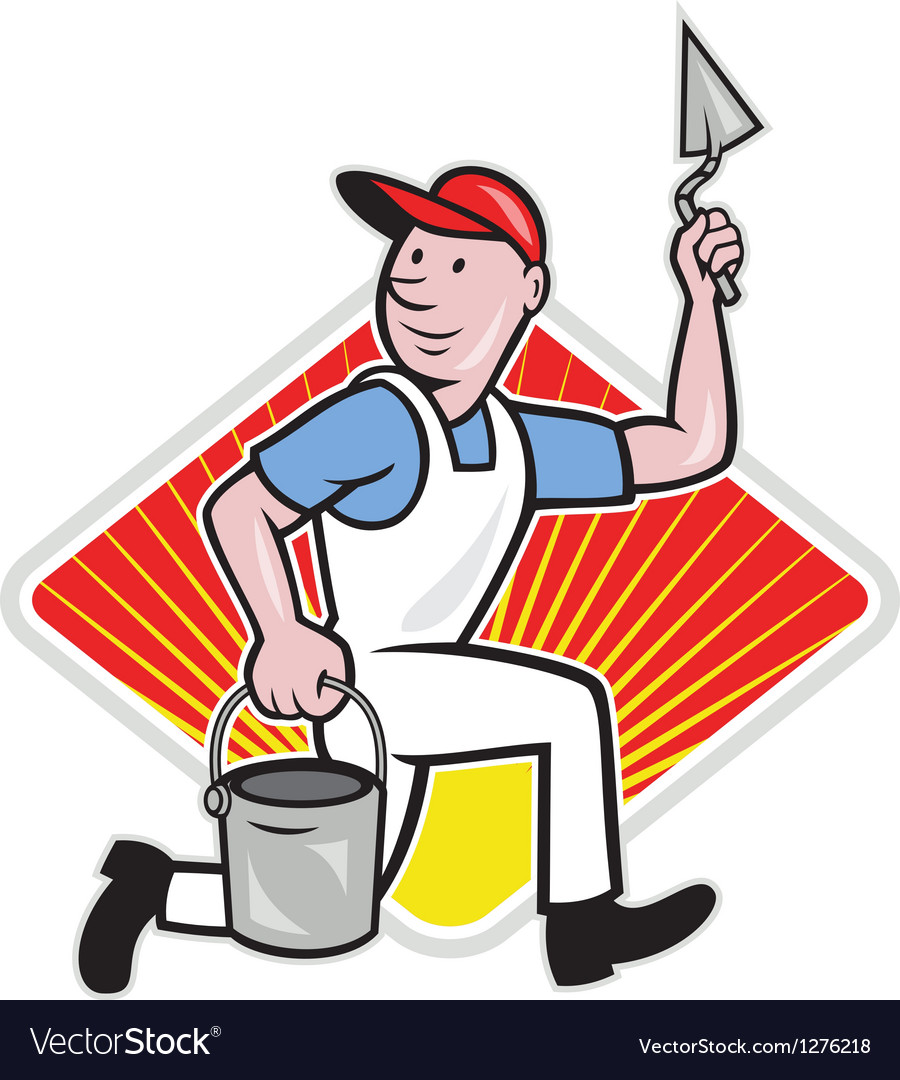 Plaster masonry worker cartoon vector | Price: 1 Credit (USD $1)