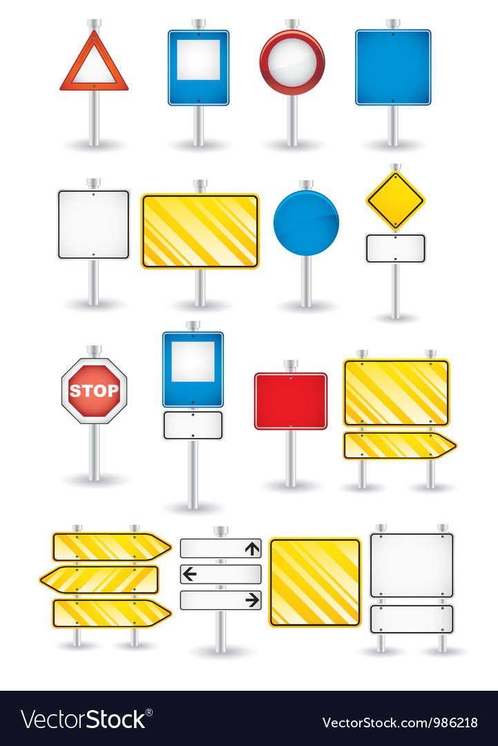 Set of road signs vector | Price: 1 Credit (USD $1)