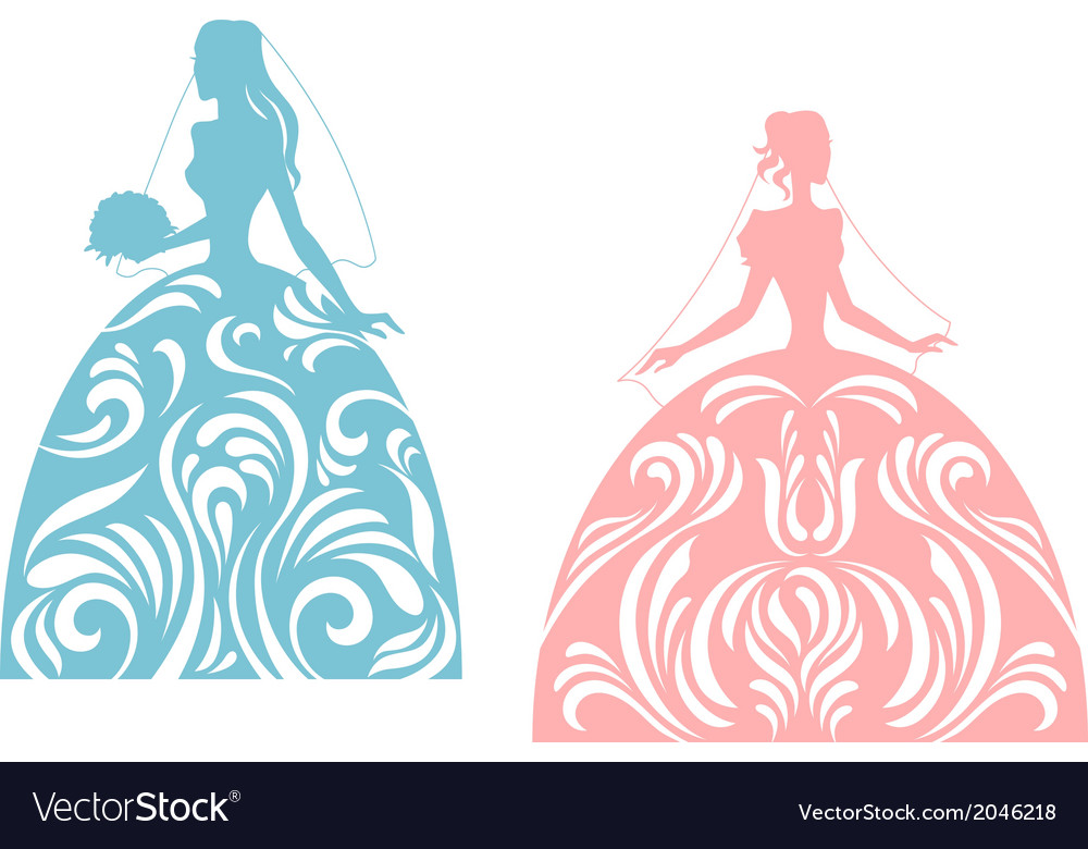 Young bride silhouette vector | Price: 1 Credit (USD $1)