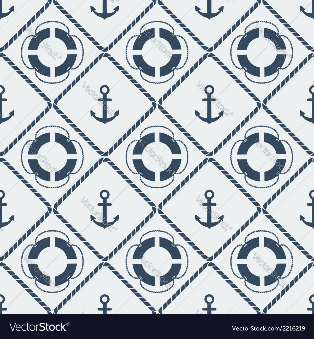 Anchors lifebuoy seamless pattern vector | Price: 1 Credit (USD $1)