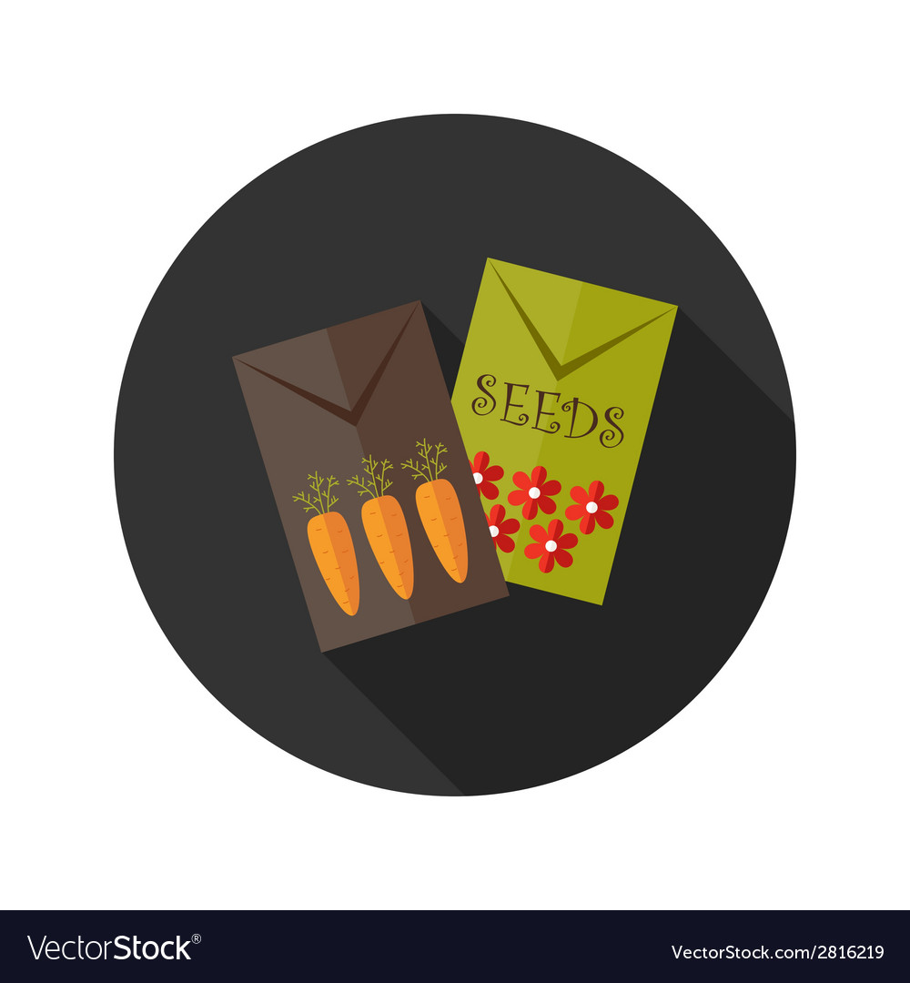 Carrot and flower seeds flat icon vector | Price: 1 Credit (USD $1)