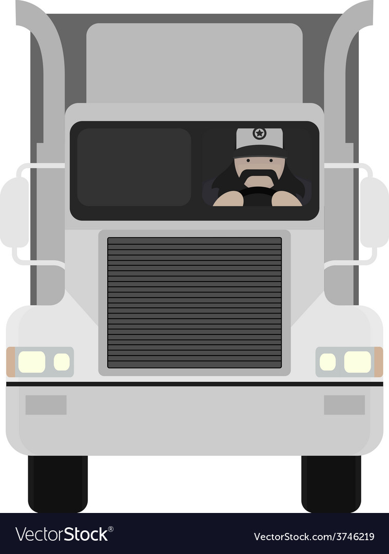 Cartoon style truck driver driving no outline vector | Price: 1 Credit (USD $1)