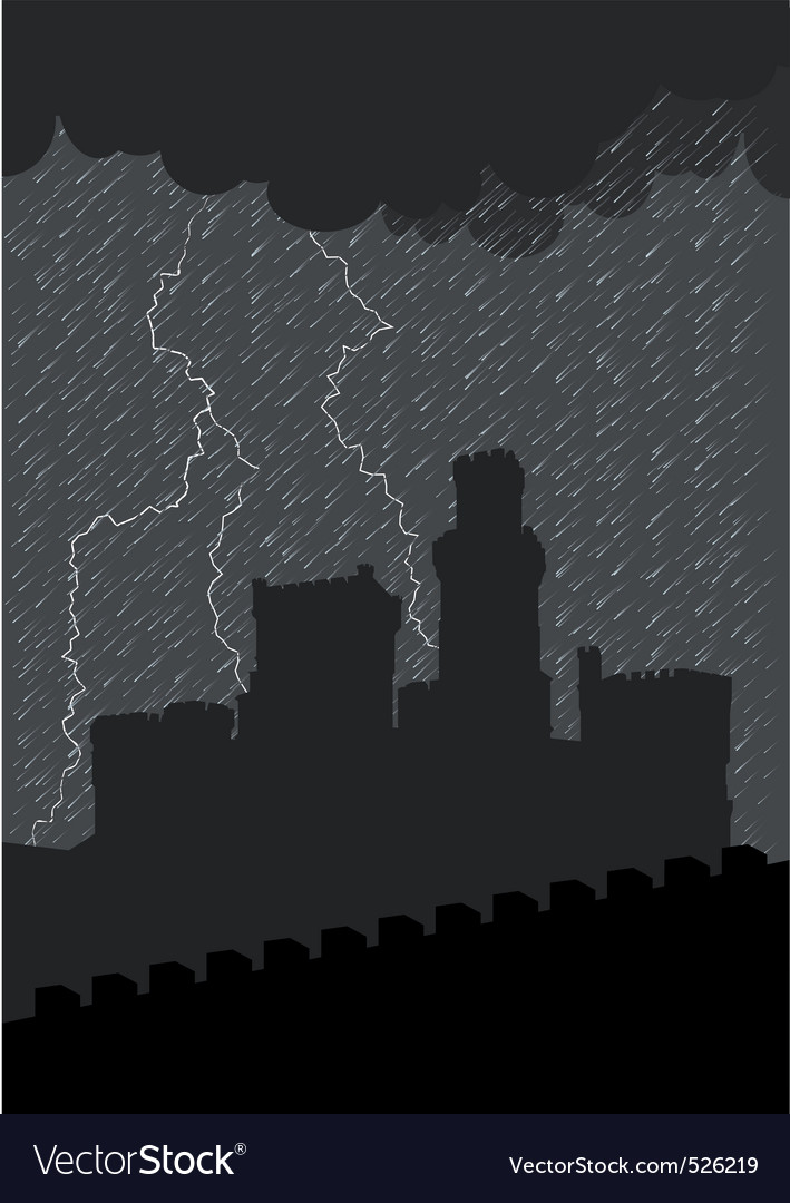 Castle under the storm vector | Price: 1 Credit (USD $1)