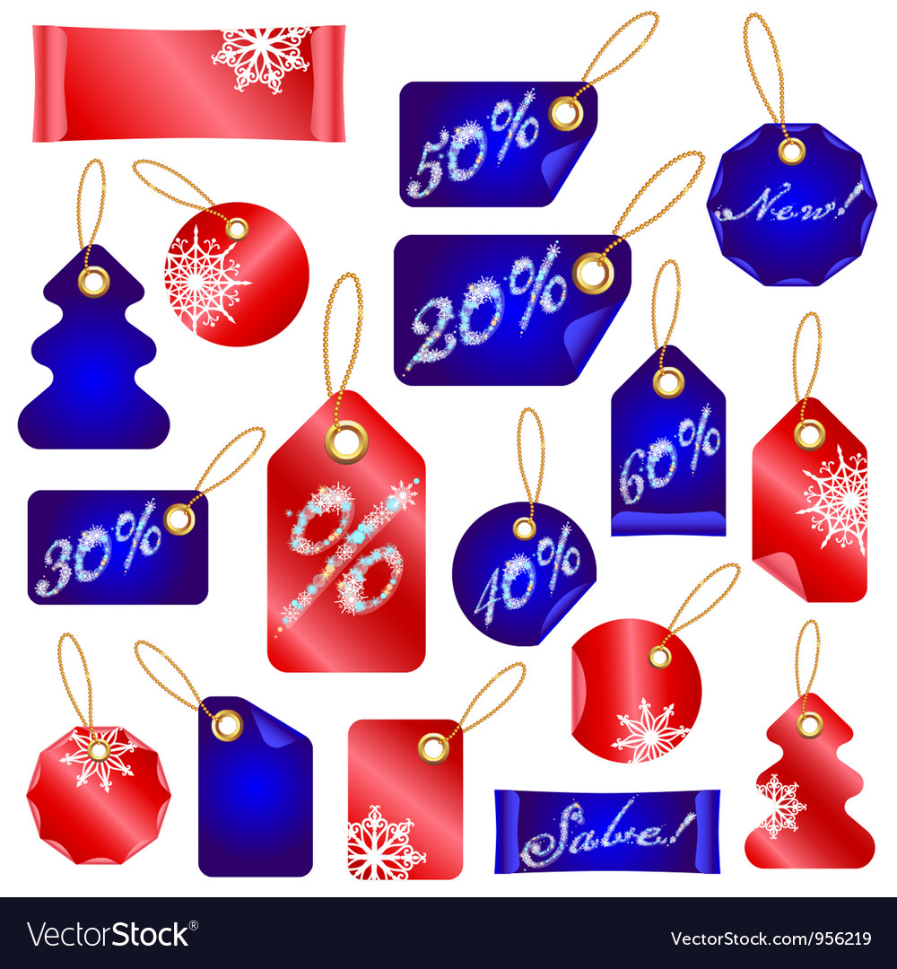 Christmas sale tags with snowflakes vector | Price: 1 Credit (USD $1)