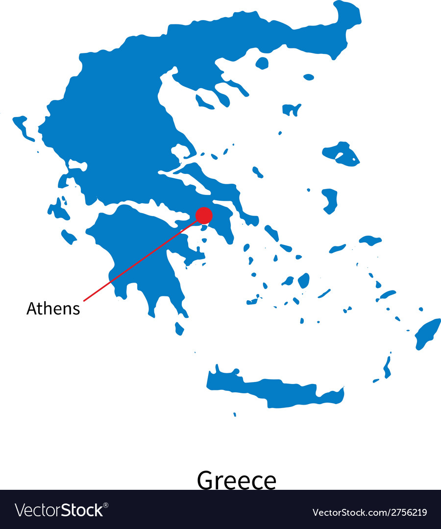 Detailed map of greece and capital city athens vector | Price: 1 Credit (USD $1)