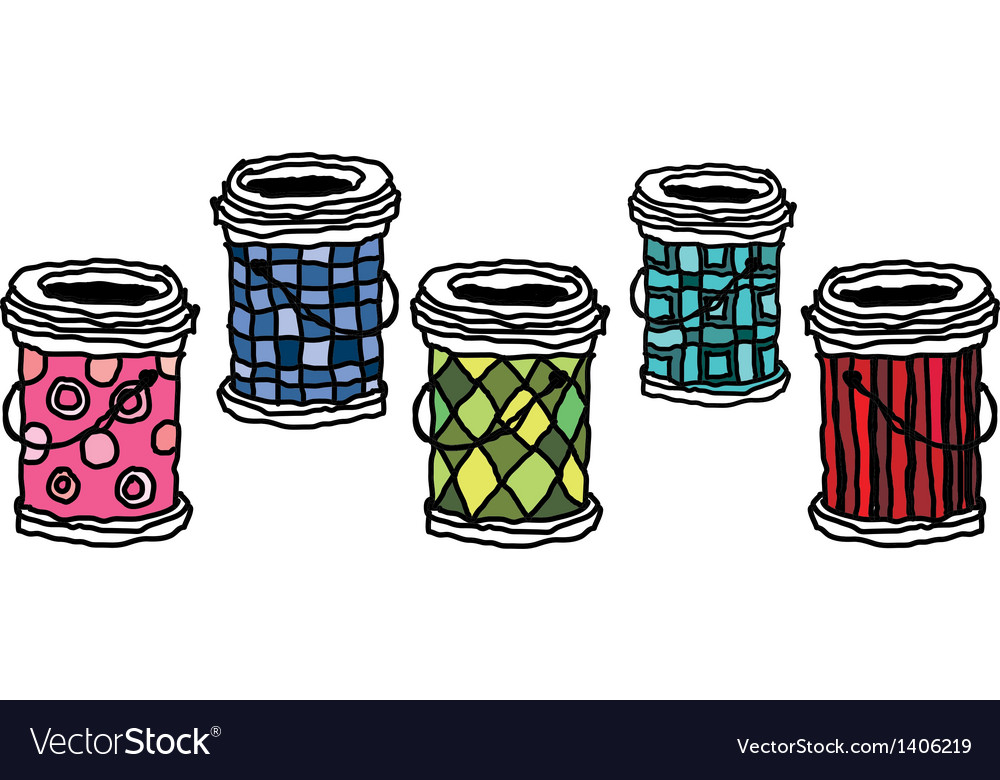 Five buckets are placed vector | Price: 1 Credit (USD $1)