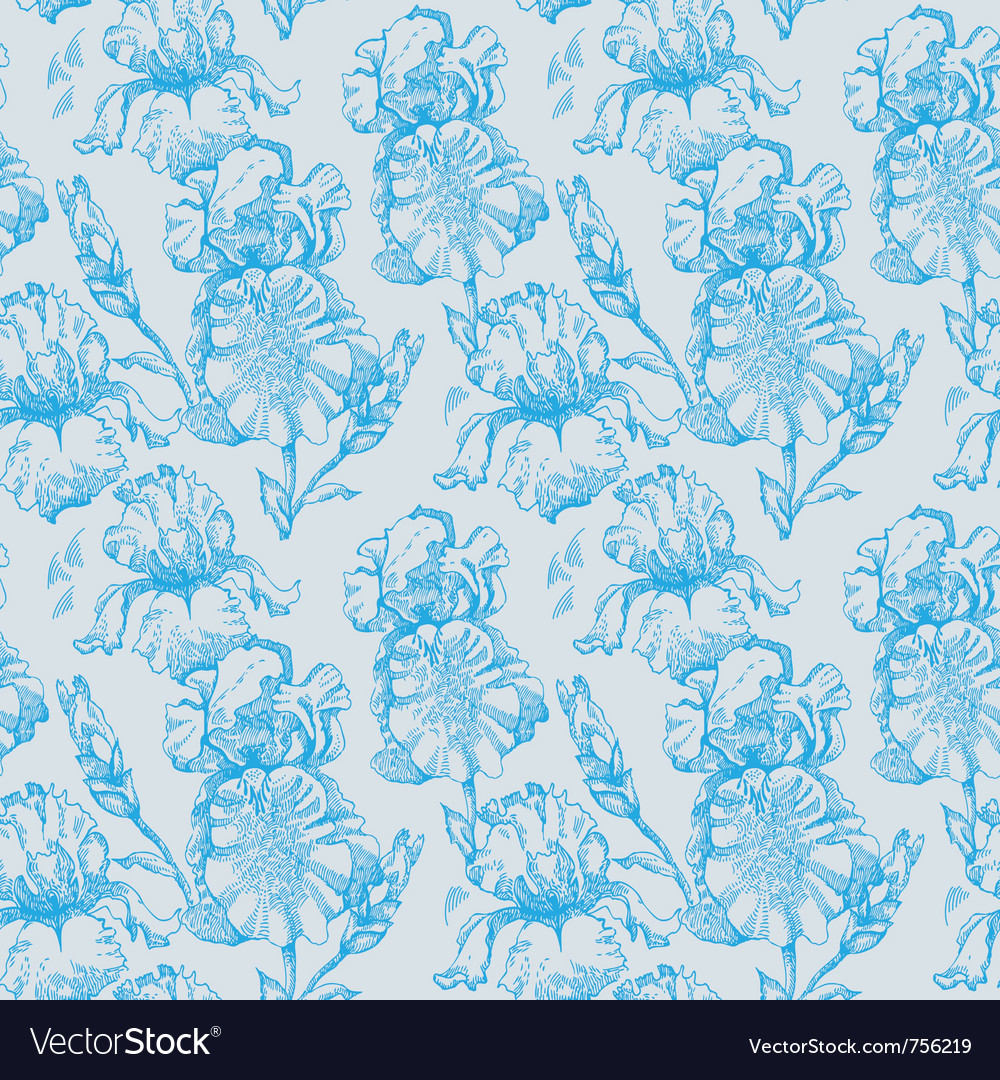 Floral seamless pattern with iris flowers vector | Price: 1 Credit (USD $1)
