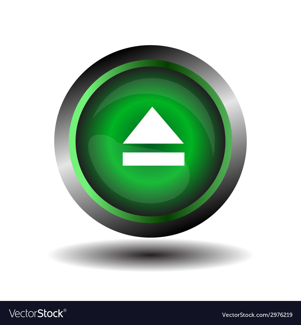 Green glossy button circle web eject sign vector | Price: 1 Credit (USD $1)