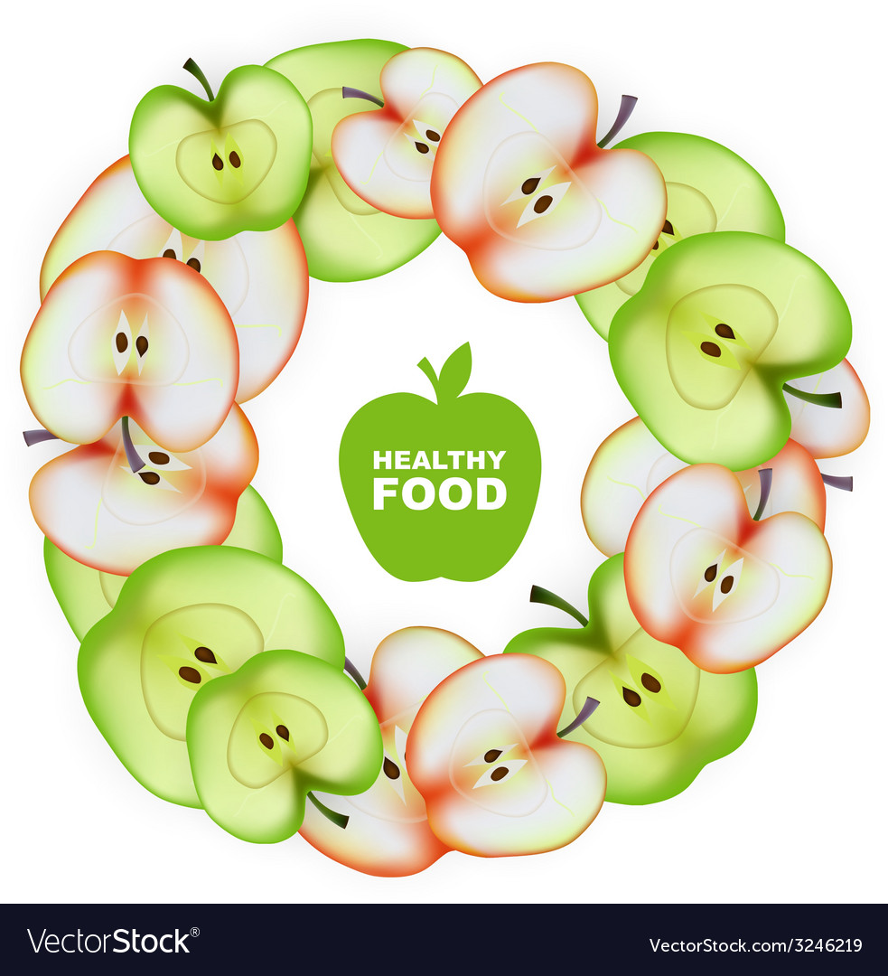 Healthy food slice of apple round frame vector | Price: 1 Credit (USD $1)