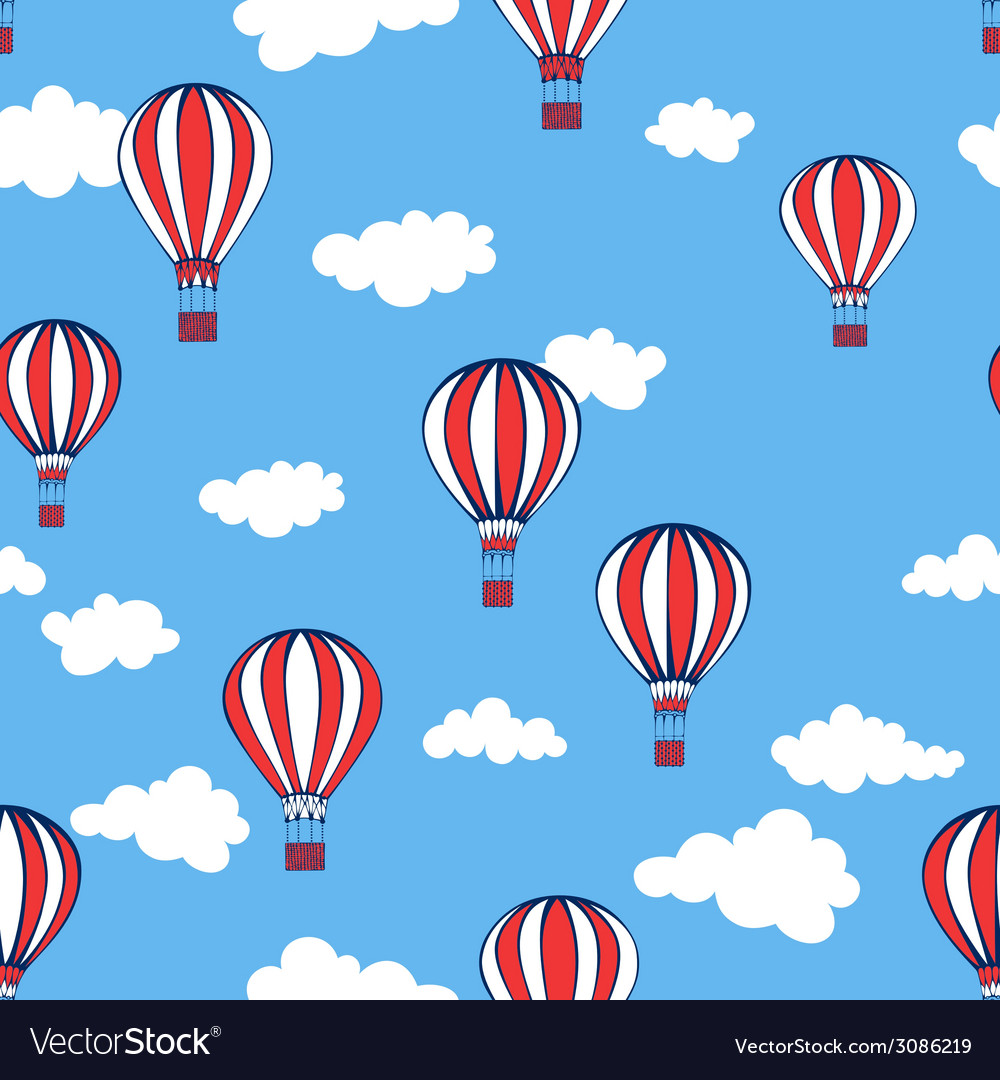 Hot air balloons seamless pattern vector | Price: 1 Credit (USD $1)
