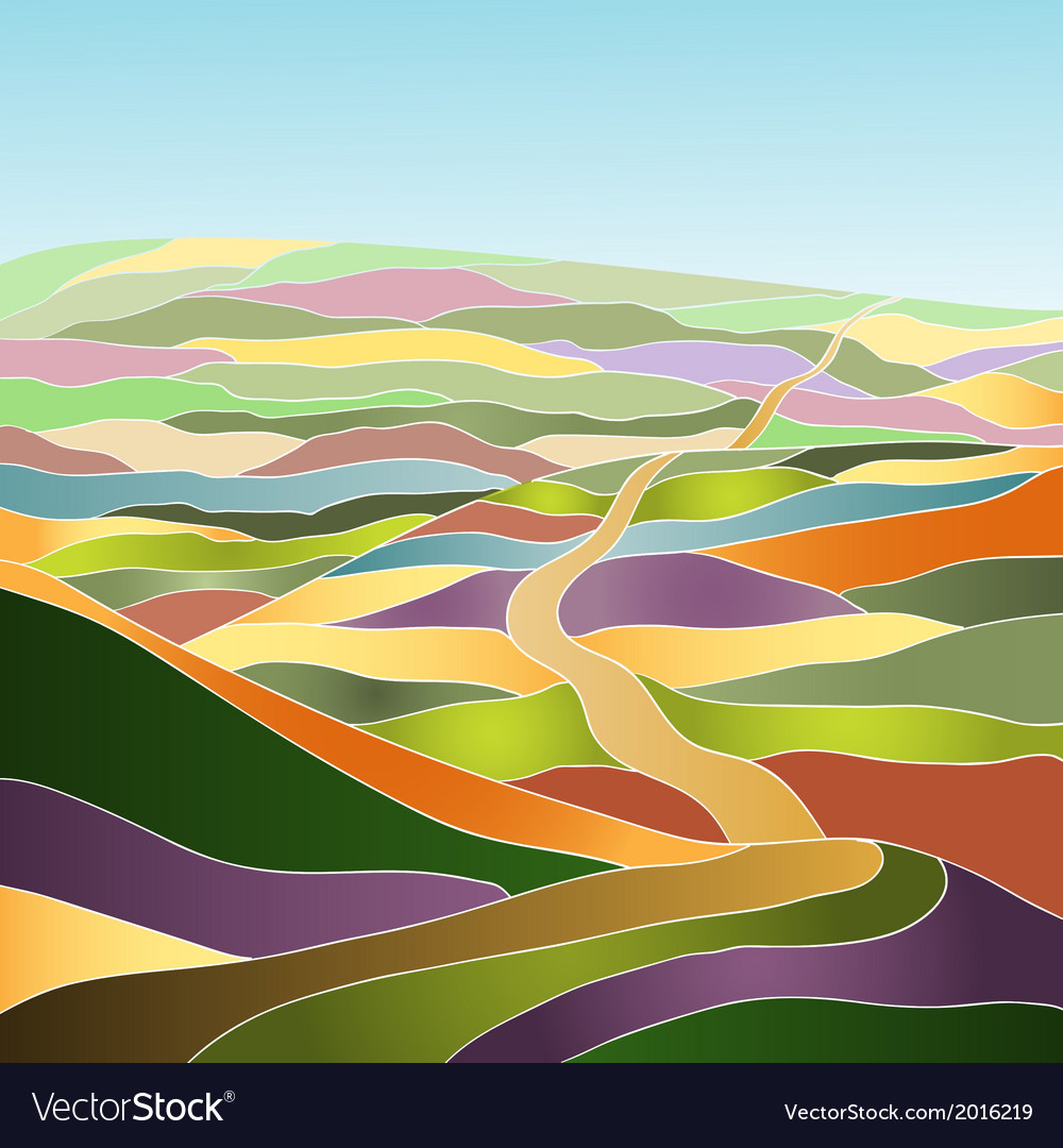 Multicolor summer landscape vector | Price: 1 Credit (USD $1)