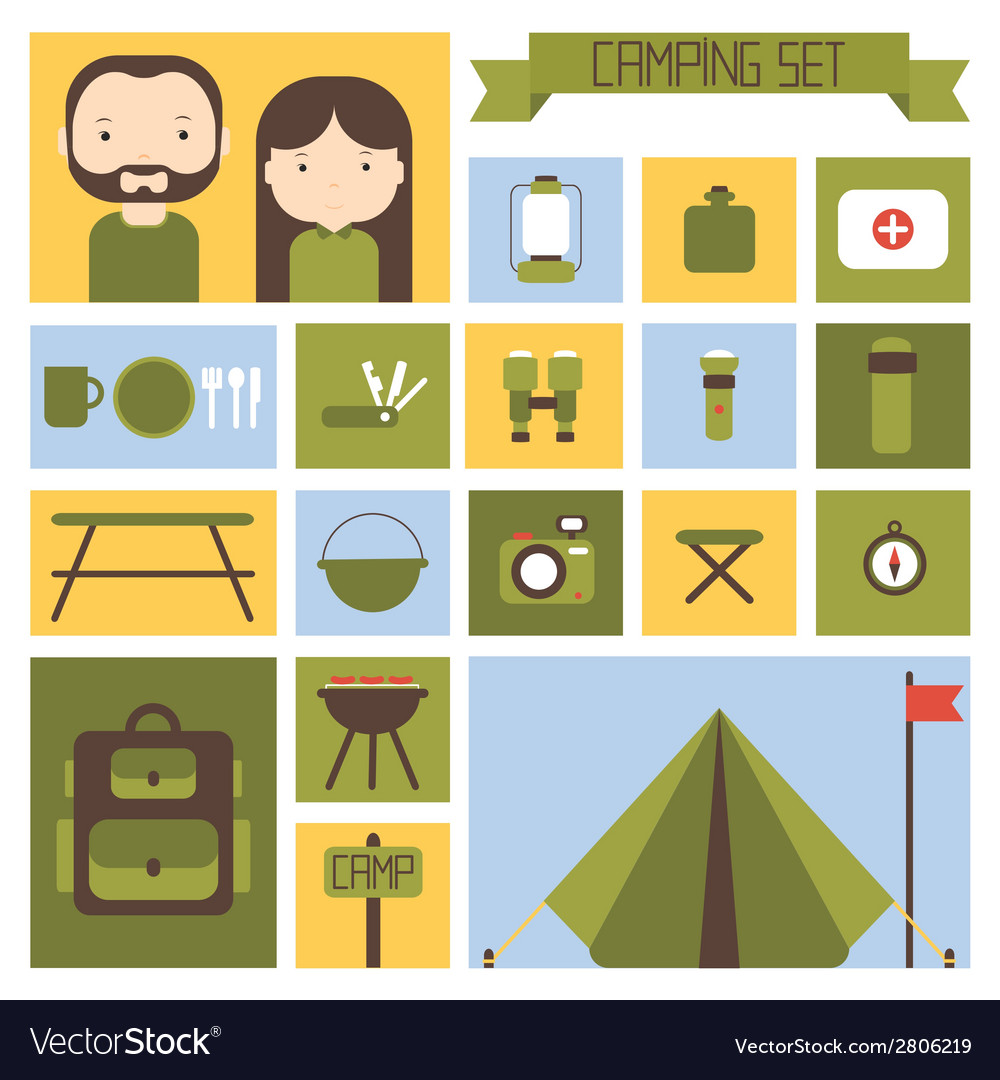 Set of flat colorful camping equipment symbols and vector | Price: 1 Credit (USD $1)