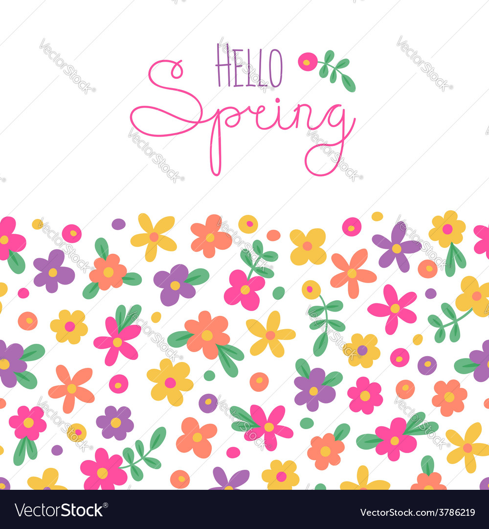 Sizon card hello spring with cute flowers vector | Price: 1 Credit (USD $1)