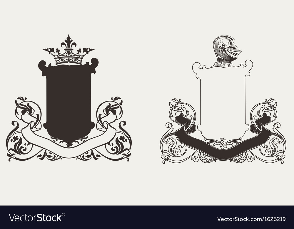 Two heraldry knight crests vector | Price: 1 Credit (USD $1)