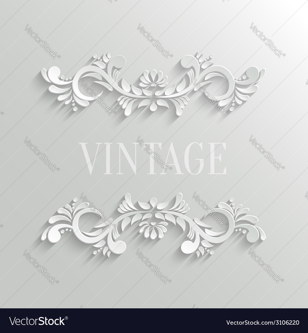 3d floral invitation card in vintage style vector | Price: 1 Credit (USD $1)