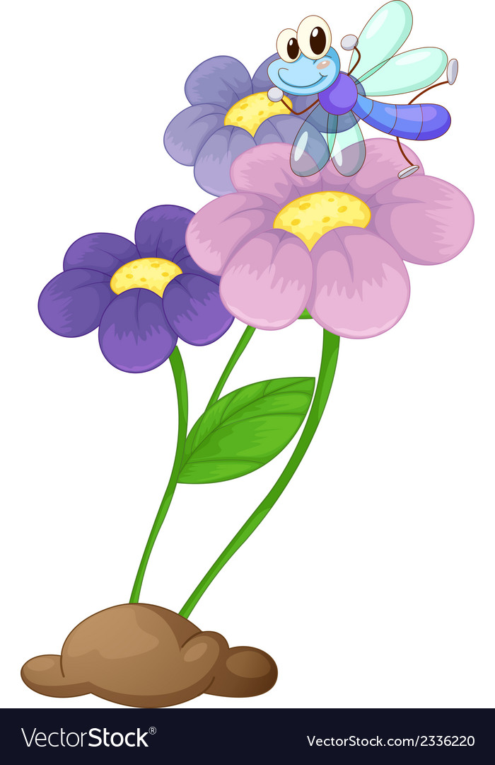A flowering plant with a dragonfly vector | Price: 1 Credit (USD $1)