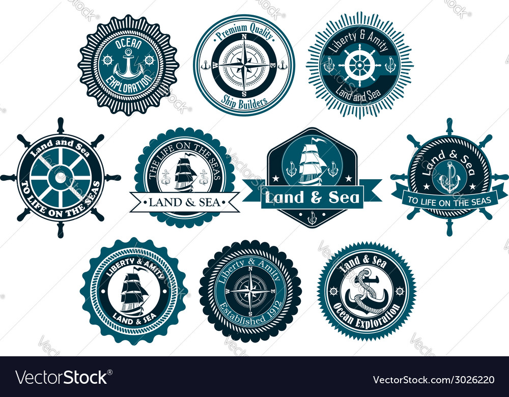 Circle marine heraldic labels vector | Price: 1 Credit (USD $1)