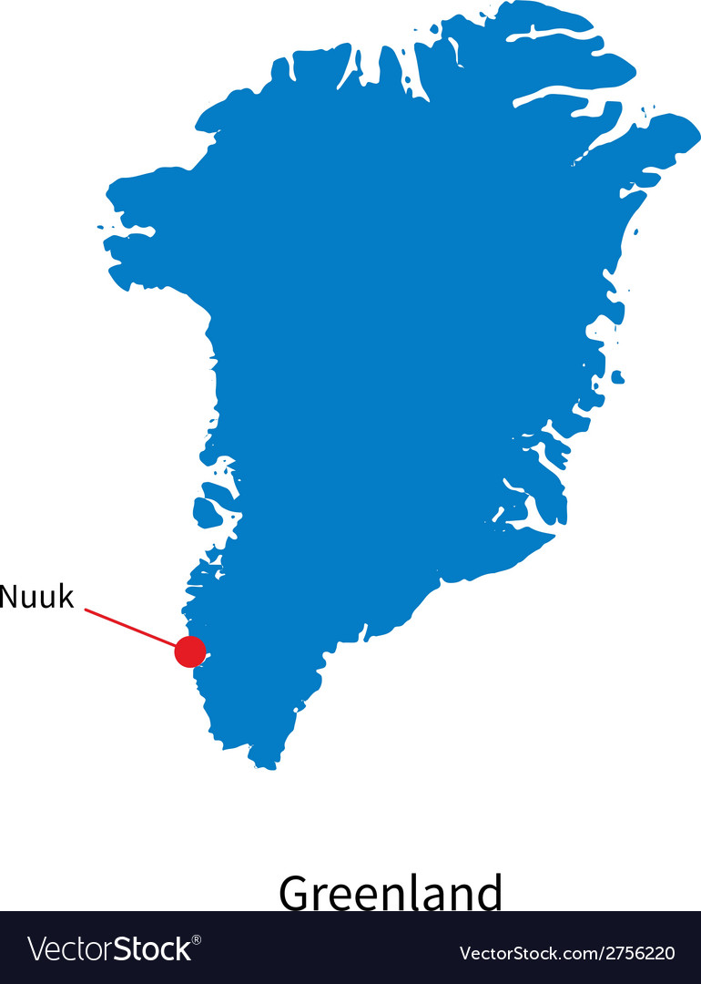 Detailed map of greenland and capital city nuuk vector | Price: 1 Credit (USD $1)