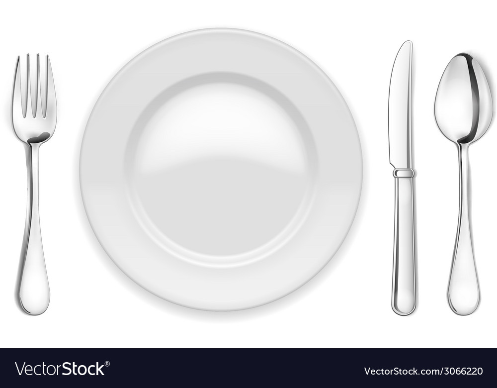 Empty plate spoon and fork vector | Price: 1 Credit (USD $1)