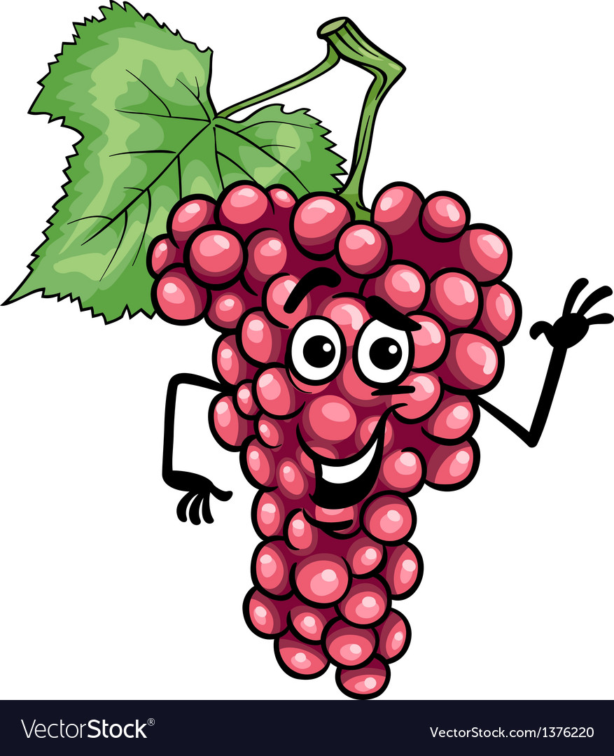 Funny red grapes fruit cartoon vector | Price: 1 Credit (USD $1)